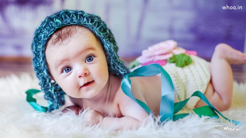 Beautiful Little Indian Girl Hd Wallpaper Newborn Blue Baby Knitted Hat With Face Closeup Hd Newborn