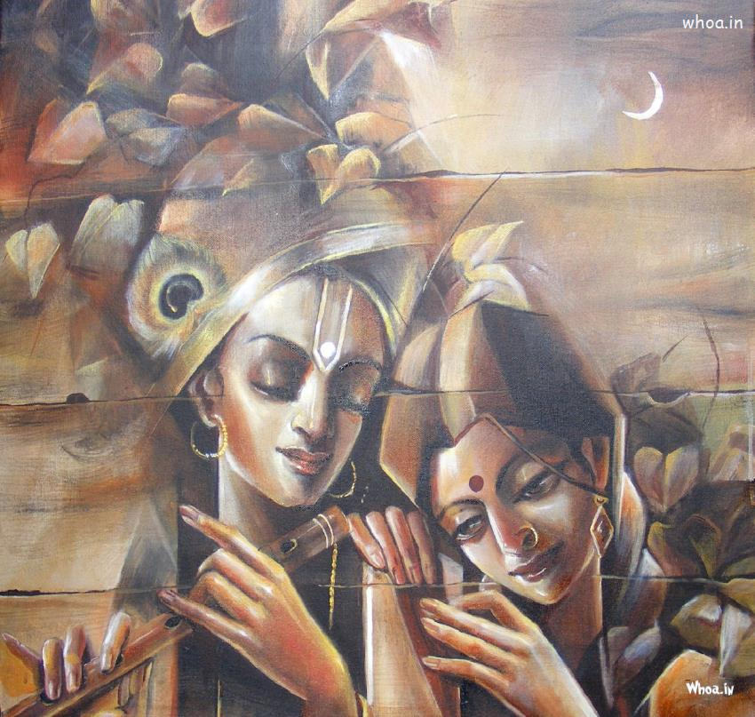Radhe Krishna Canvas Painting Hd Wallpaper