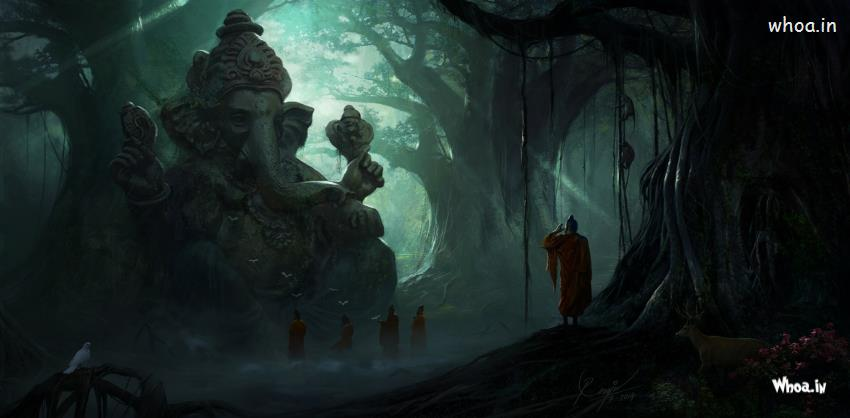 Cute Baba Wallpapers Hd Image Of Lord Ganesha Under The Big Tree