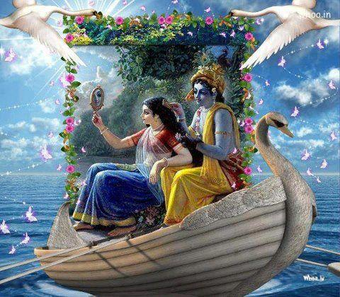 Sri Krishna Hd Wallpaper Download The Beautiful Image Of Radha With Krishna In Nauka Vihar