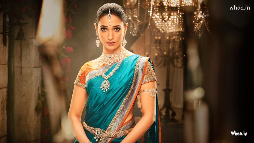 Bollywood Wallpapers With Love Quotes Tamanna Bhatia In Silk Saree Desi Look 4k Wallpaper