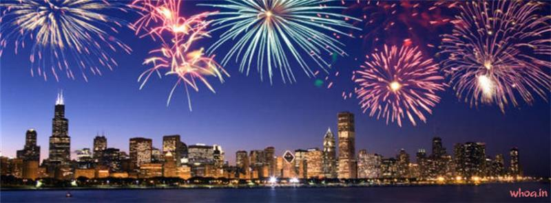 Chicago Firework New Year Facebook Cover