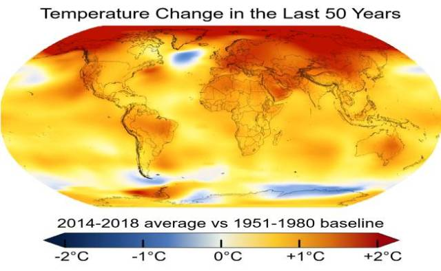 change in average temperature