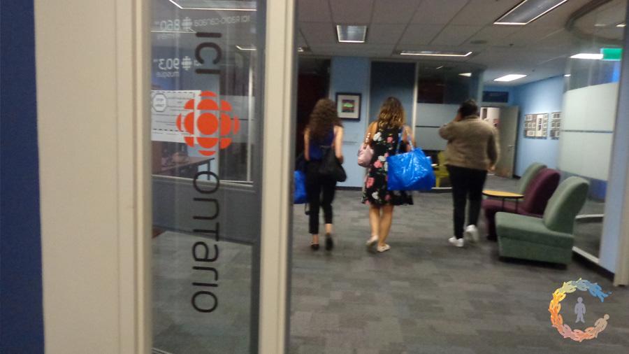 Walking into the CBC studio