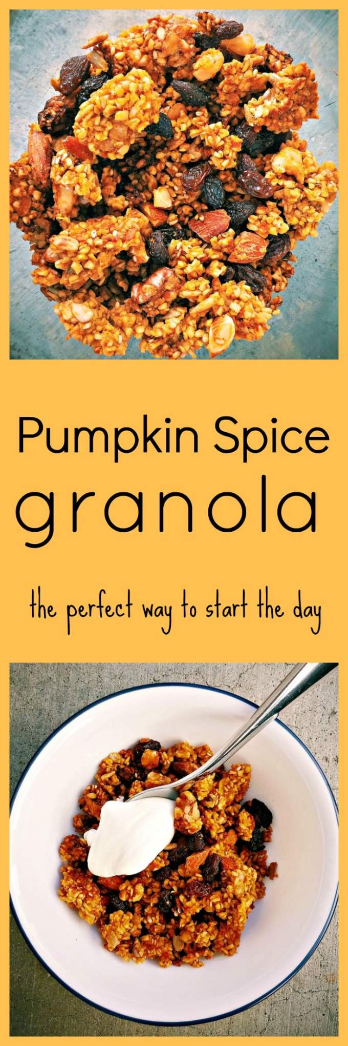 Easy to make pumpkin spice granola which will make your house smell beautiful while it gets all toasty in the oven. Pairs great with yogurt for breakfast.