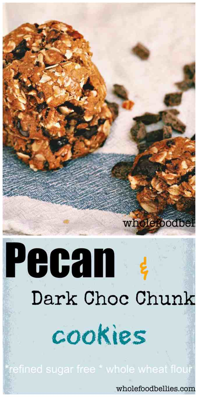 Buttery pecans and dark chocolate chunks combine to make the most delicious oatmeal cookies. Just perfect for an afternoon treat.