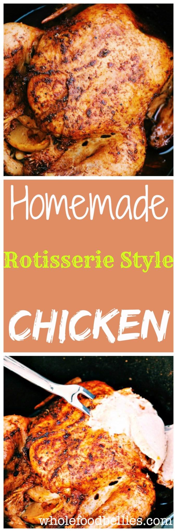 Rotisserie Style Chicken Pinnable Image @wholefoodbellies.com