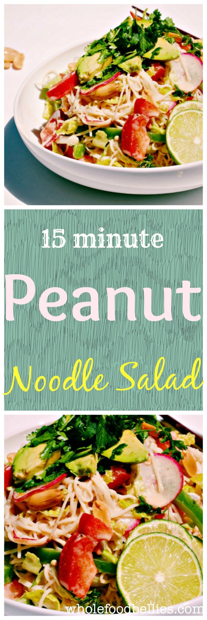Quick Coconut Peanut Noodle Salad is perfect for a super hot night. It takes 15 minutes to prepare and is super fresh and jammed packed with all the good stuff