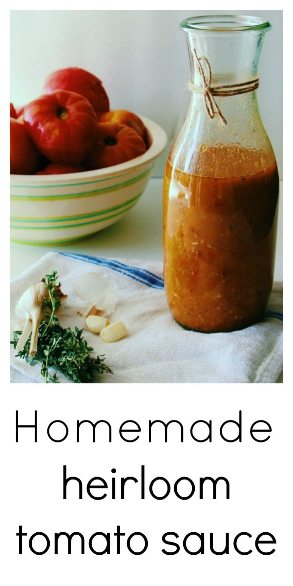 Set aside that jar of store-bought tomato sauce full of added sugar and switch it up with some Fresh Heirloom Tomato Sauce, using the best of what the season has to offer. Use it on top of some meatballs, in layers of lasagne, as a pizza sauce, or as a regular old pasta sauce. Such an amazing flavor and a great way to preserve the season. Get the kids to help and they will be lapping up those tomatoes in no time. #tomato #tomatorecipe #heirloomtomato #tomatosauce