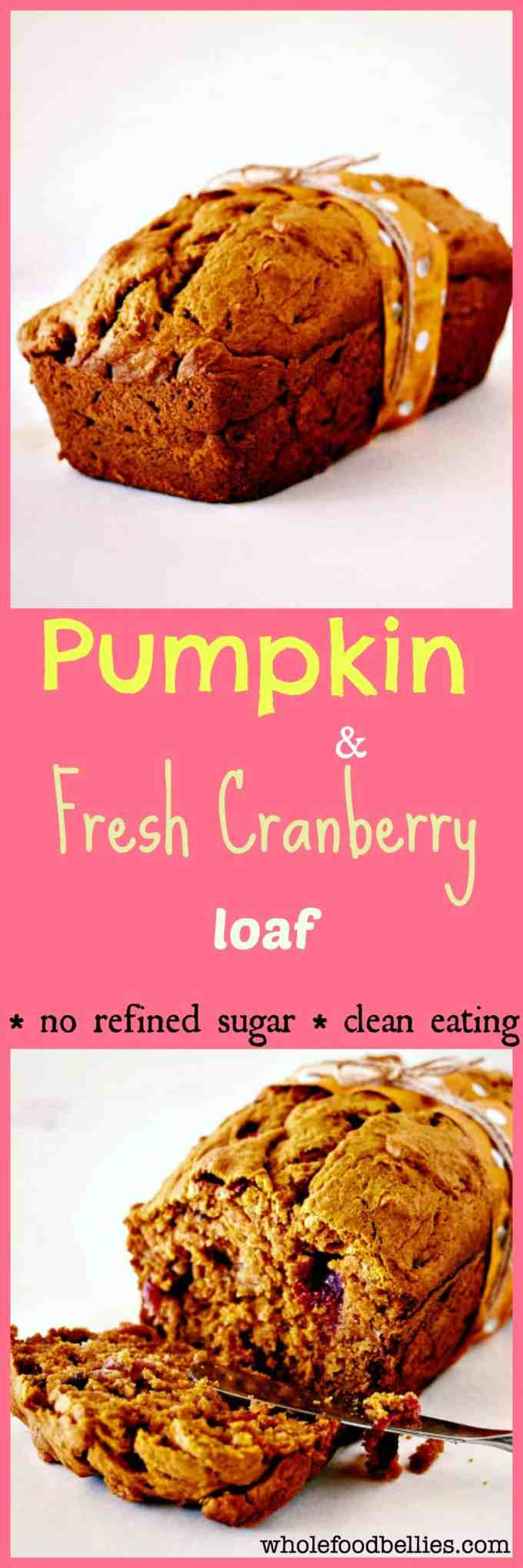 Pumpkin and Fresh Cranberry Bread is the perfect treat to enjoy with a cup of tea in the cooler months. Completely from scratch and full of goodness