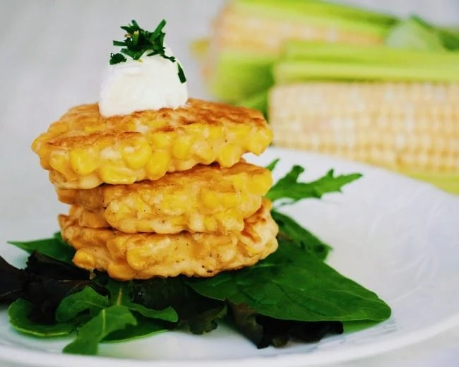 4 Ingredient Corn Cakes: 4 corn cakes stacked one on top of the other