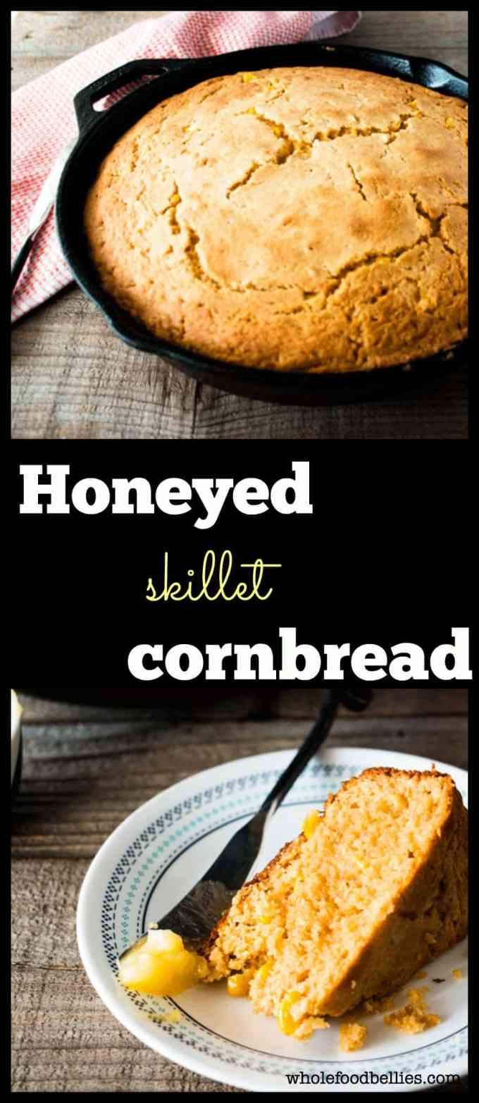 Fresh and delicious, this honey sweetened skillet cornbread tastes amazing. Slather on some honey whipped butter, and you have the perfect side.