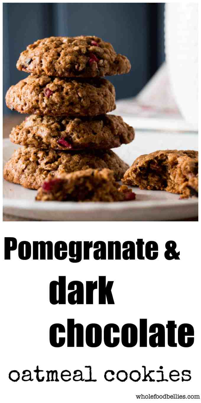 Oatmeal cookies perfect for the holidays, showcasing delicious dark chocolate, pecan and pomegranate. Refined sugar free and packed full of flavour