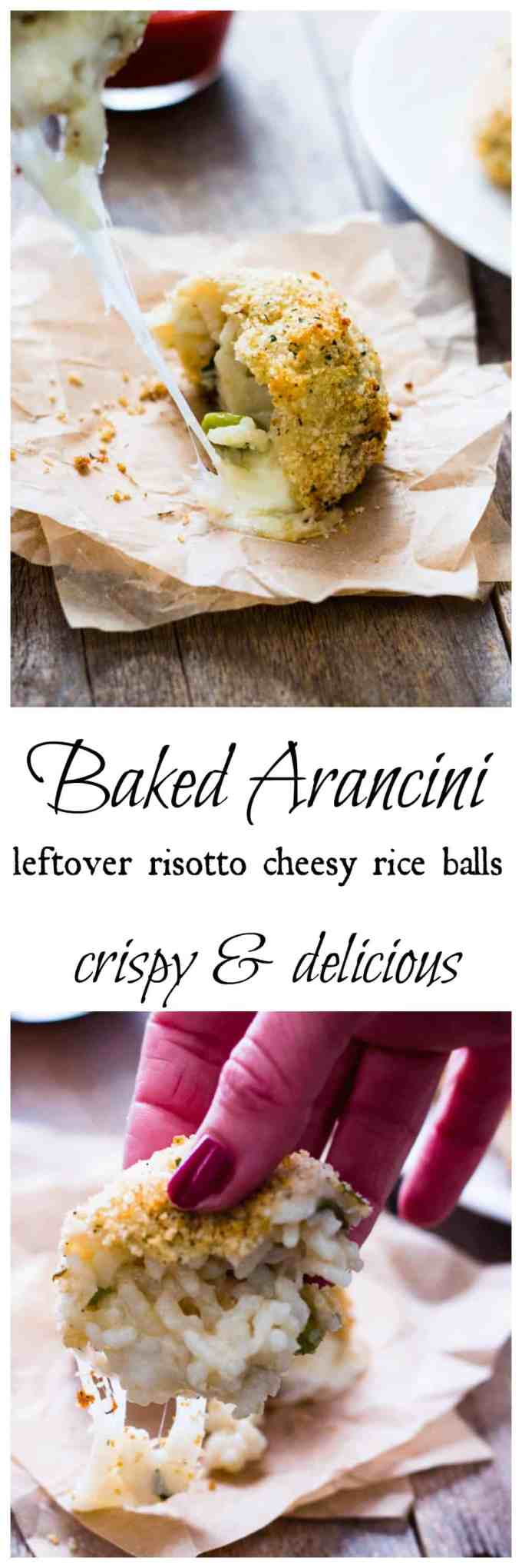 Baked Leftover Risotto Cheesy Rice Balls (arancini) are the perfect baked alternative to traditional arancini. Crispy and delicious, they are a great dish.