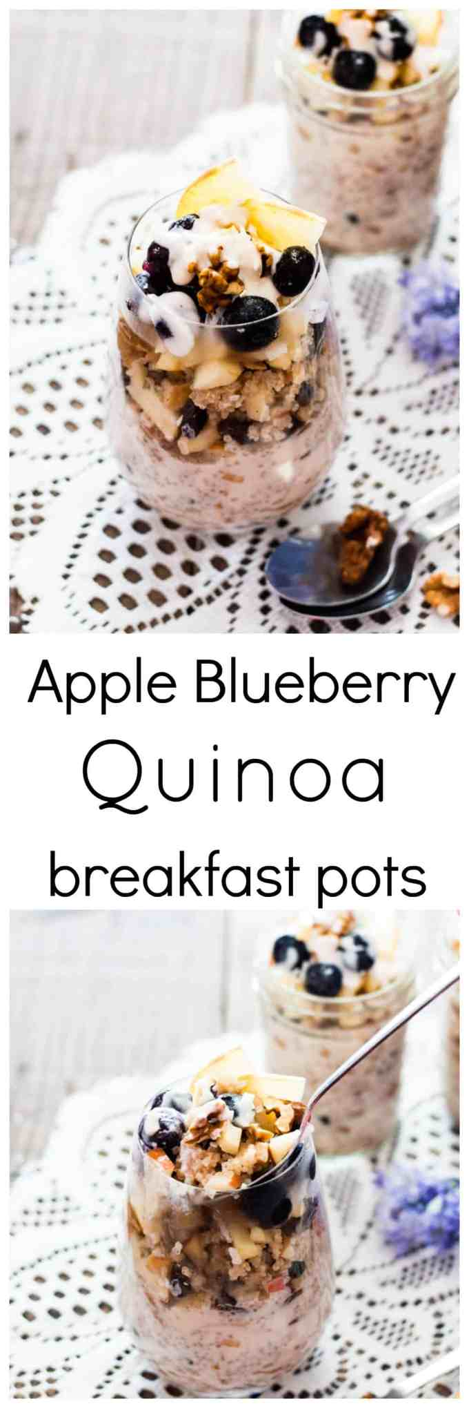 Apple Blueberry Quinoa Breakfast Pot with Maple Yogurt Dressing. The perfect make ahead breakfast the whole family will enjoy.