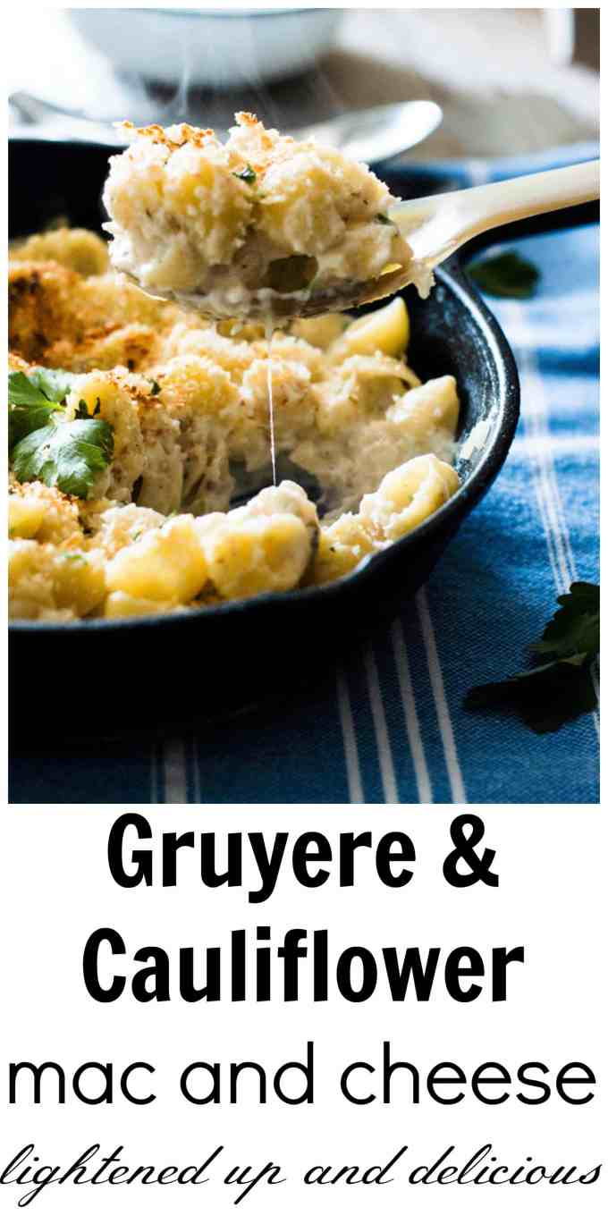 Gruyere and Cauliflower Mac and Cheese. Healthy twist on the classic, this is the perfect meal for the whole family. Given a big thumbs up by the kids and adults alike. www.wholefoodbellies.com
