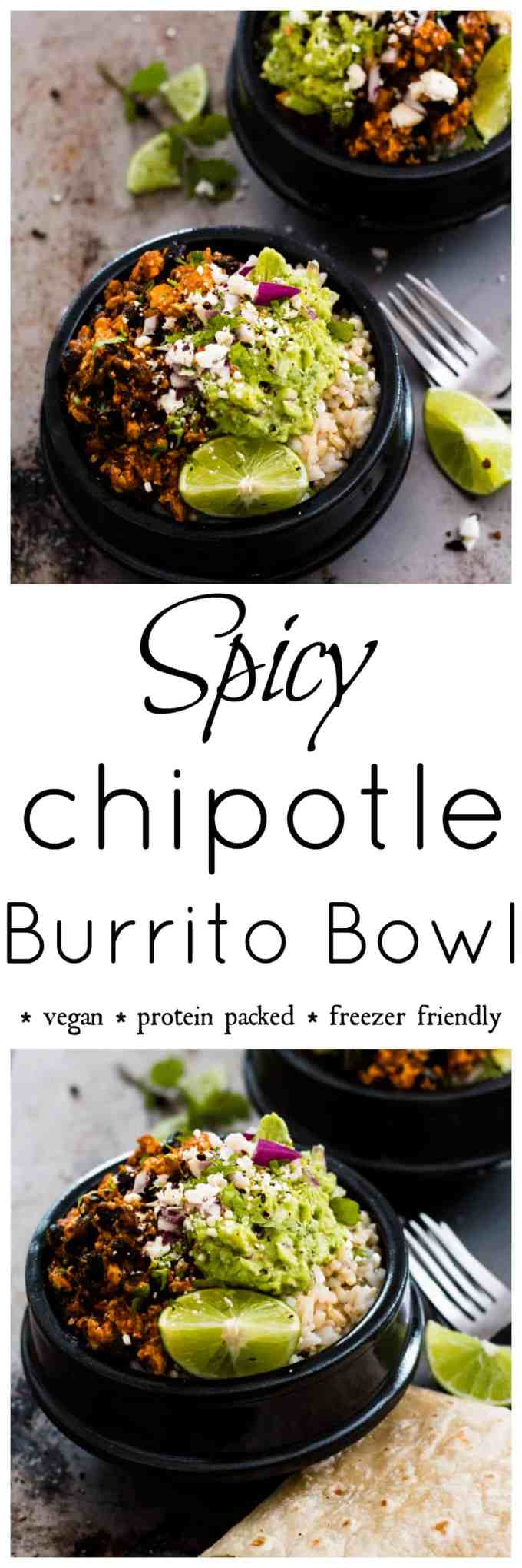 Spicy Chipotle Tofu Burrito Bowl. This delicious protein packed vegan bowl is easy to prep and freezer friendly.