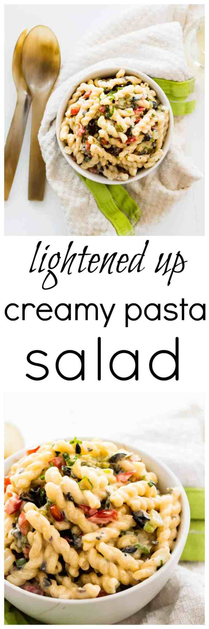 Lightened up creamy pasta salad. The perfect salad to bring along to a bbq or potluck this summer
