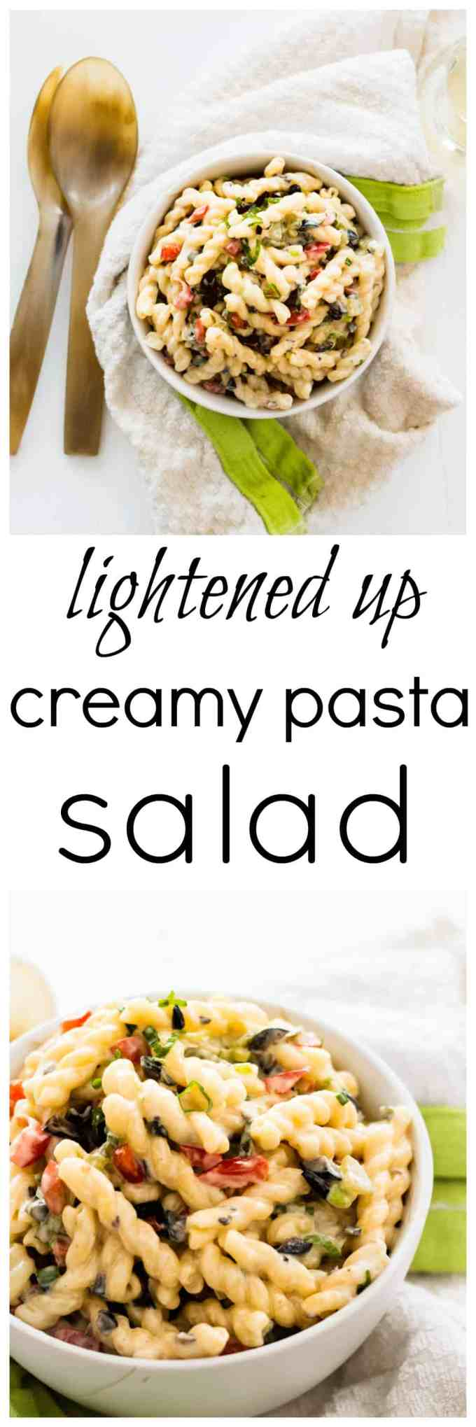 This lightened up, healthier version on the popular summer creamy pasta salad is perfect for the upcoming grilling season and summer potlucks.