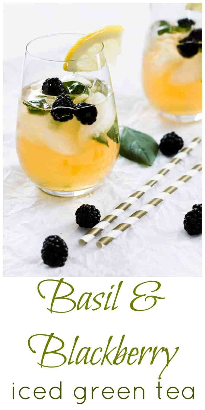 Iced green tea gets a pop of flavour from fresh basil and blackberries muddled together, and a little bit of sweetness from honey. Great for a hot sunny day