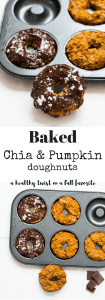 Baked Chia Pumpkin Pie Donuts. The perfect healthy snack for Fall. Vegan and refined sugar free