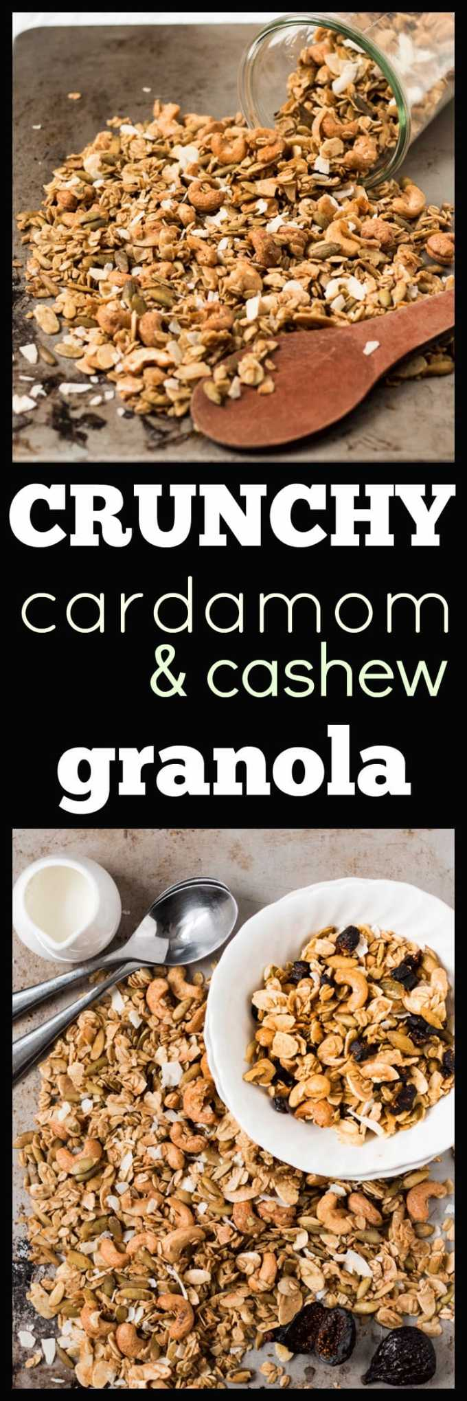 Cardamom and Cashew Granola. Slightly spicy from the cardamom, slightly sweet from the maple syrup, lots of crunchy from the nuts and seeds.