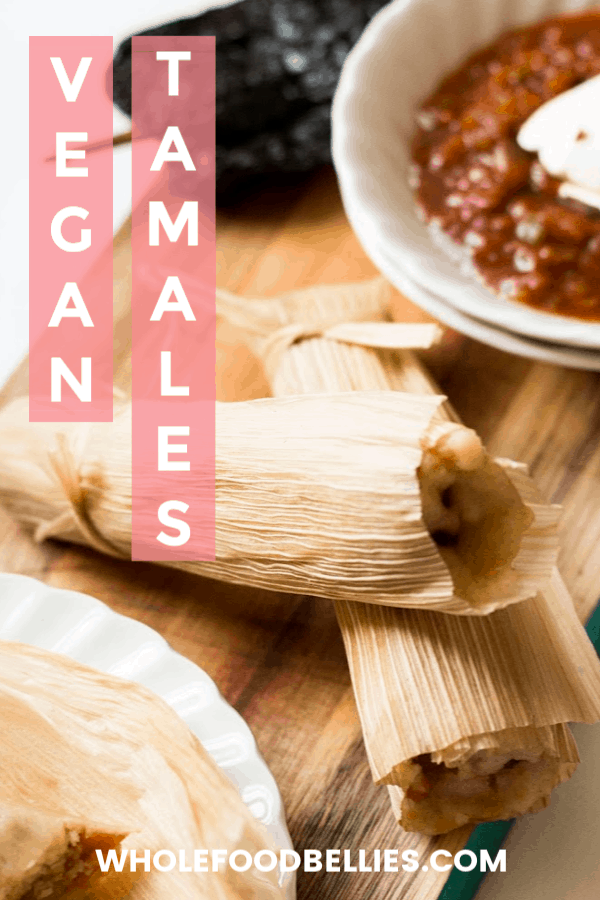 A healthier, vegan tamale stuffed with adobo spiced potatoes and peas. The perfect big-batch cooking project for the whole family, especially over the Holidays. Pressure cooker and stove top instructions. #vegantamales #potatotamales #howtomaketamales #tamalesinstantpot