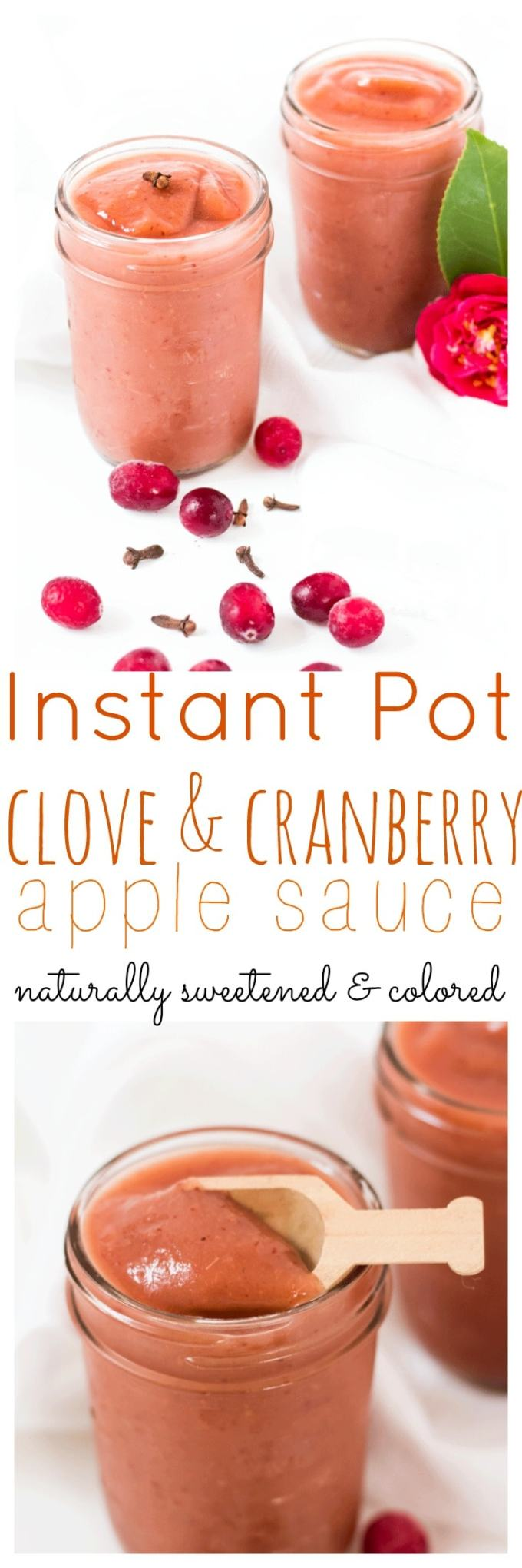 Clove and Cranberry Apple Sauce is the perfect sweetener for baked goods or a popping pink snack for little hands. Naturally sweetened