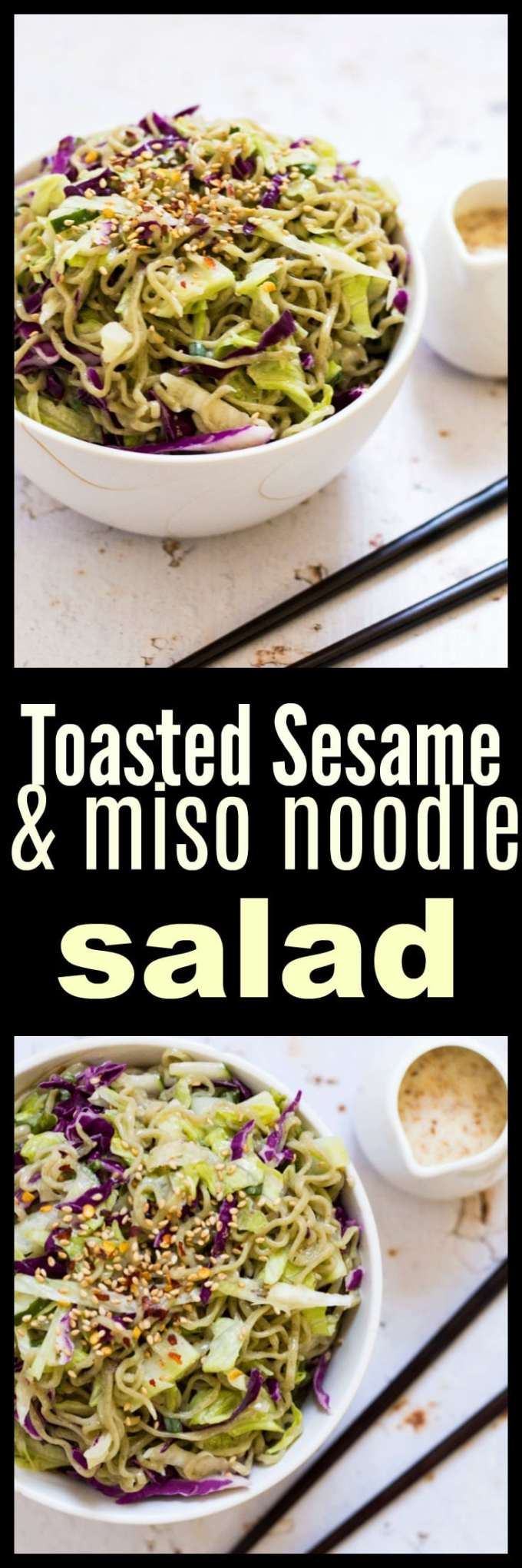 Enjoy a light and veggie filled meal with this Toasted Sesame and Miso Noodle Salad. Quick and easy to put together and jam packed goodness.
