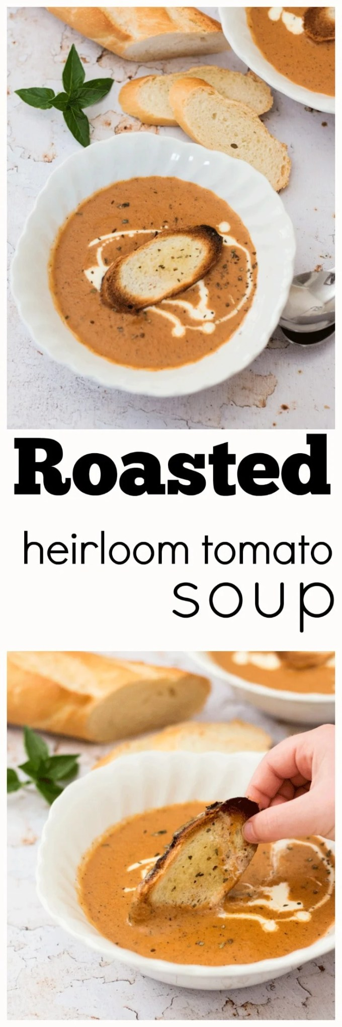 This is not your mama's canned tomato soup. This CreamyHeirloom Tomato Soup is on a completely different level and you will never ever go back. Use the best quality vine-ripened tomatoes you can find, heirlooms if they are available. And please please please don't cheat and use milk, the taste explosion just won't be the same.