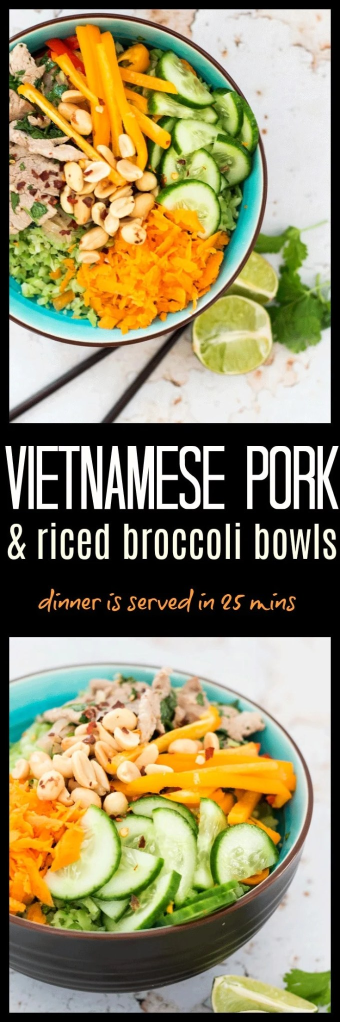 This Quick Vietnamese Pork and Riced Broccoli Bowl is the answer to that ever recurring problem of what's for dinner tonight. They come together in just thirty minutes (less if you have some riced broccoli stored in the freezer), are delicious and satisfying, and make absolutely fantastic leftovers for lunch the next day.