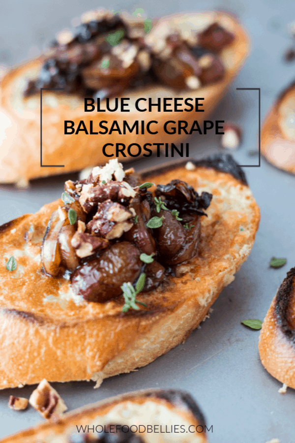 Blue Cheese Crostini with Roasted Grapes is a perfect appetizer for Holiday entertaining. Fresh baguette, blue cheese butter and balsamic roasted grapes. #appetizer #entertaining #crostini #appetizerrecipe #balsamic