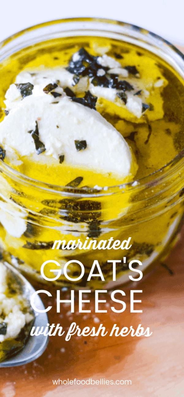Marinated Goat Cheese Log with Fresh Garden Herbs