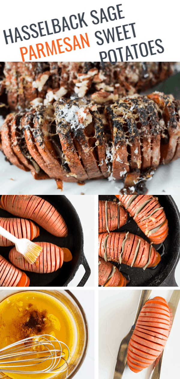 Elevate your Holiday side-dish game with these gorgeousHasselback Sage and Parmesan Sweet Potatoes. Thin slices of sweet potatoes get all tender on the inside and crispy on the outside. Stuff some fresh sage leaves in there and sprinkle with good quality parmesan and you will be coming back for seconds without a doubt. They also get all caramelized on the bottom from the maple syrup. Can anyone say yum!?!#sweetpotato #sidedish #skilletcooking