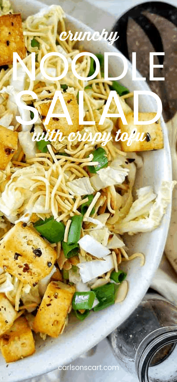 This Crunchy Noodle Salad with Crispy Tofu and Cabbage really has all of the components you need to create a balanced meal. The crispy tofu is full of protein and packs a punch of great flavor. The noodles add a nice crunch and the cabbage gives the whole salad such a great texture. Easily prepared as a take-along lunch for work as well. #salad #noodlesalad #tofusalad