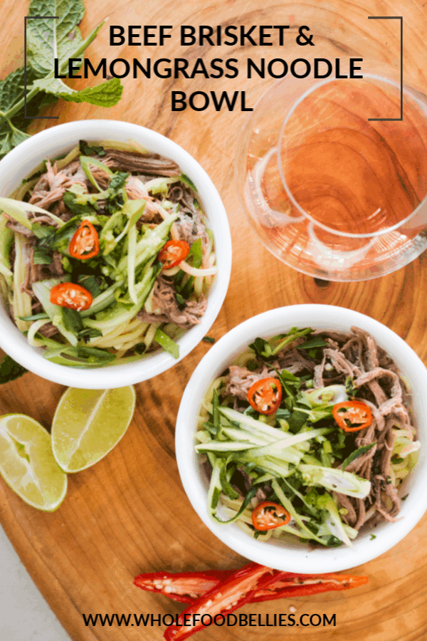 The whole family is just going to love thisLemongrass Beef Brisket Noodle Salad Bowl. Tender fall apart brisket is combined with some fresh cucumber, egg noodles, and a super fresh and zesty lemongrass and kaffir lime broth. Warm your belly in winter or add a tropicalfeel to a summer's night. You choose.  #lemongrassrecipes #lemongrassbeef #noodlesoup