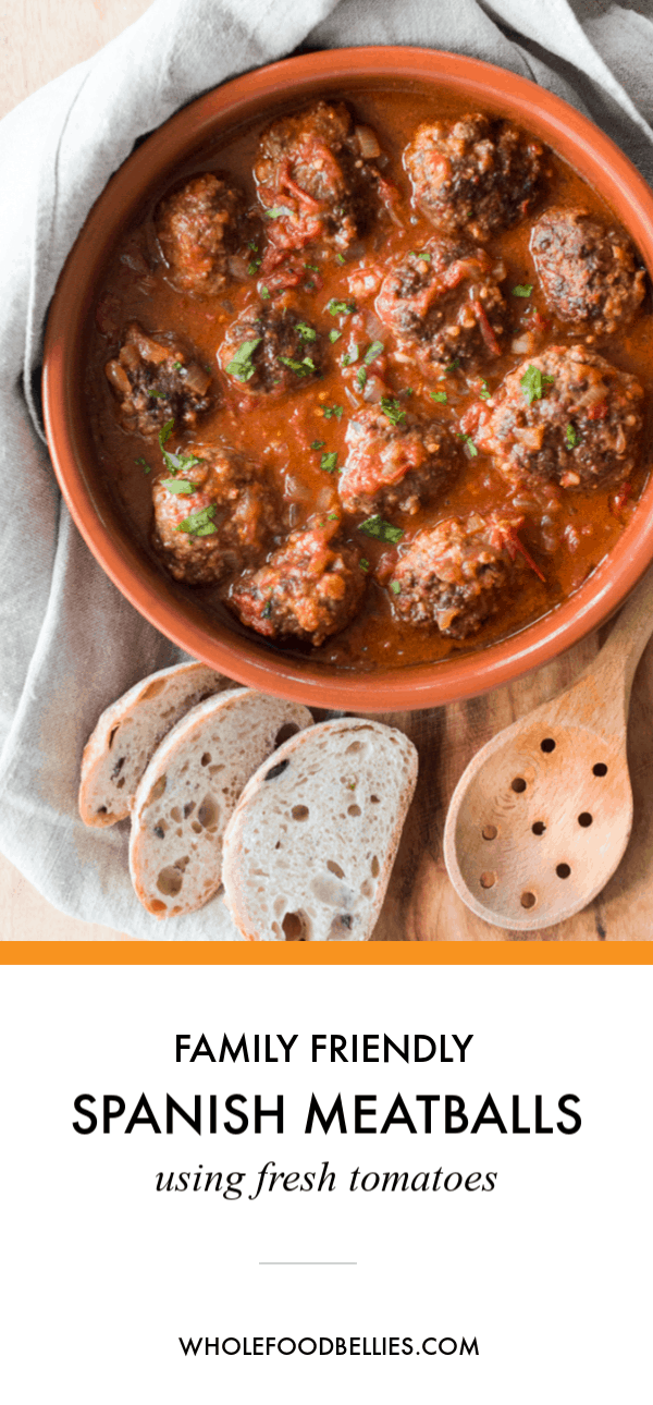 This beautiful dish comes together very quickly an in only one pot. Kids will love dipping their meatballs in the fragrant and smokey tomato sauce and then mopping up any leftovers with some fresh crusty bread. #spanishmeatballsrecipe #spanishmeatballstapas #meatballrecipes