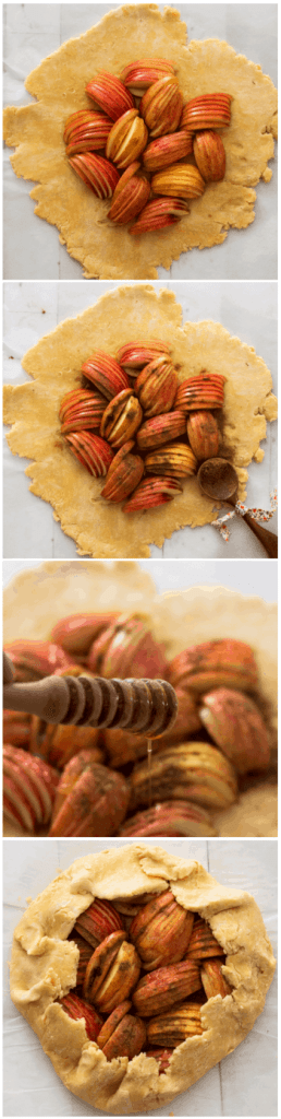 step by step process of making a warm apple crostata
