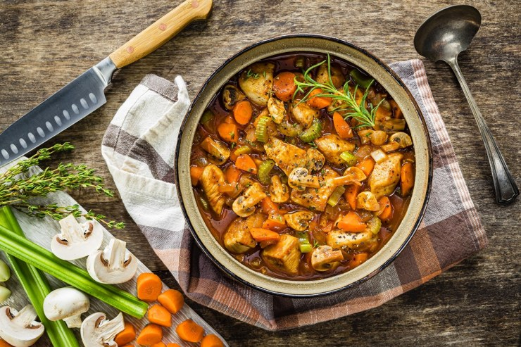 Child-friendly, dairy-free Coq Au Vin recipe - this family-friendly version is alcohol-free and inspired by the movie Ratatouille.  Includes a gluten-free option.