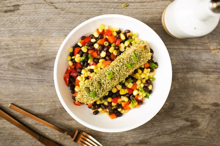 One-Dish Pumpkin Seed Crusted Salmon with a Mexican recipe for roasted corn and black beans - naturally gluten-free, dairy-free, grain-free, nut-free and soy-free