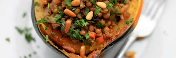 Stuffed acorn squash with wheat berries, pine nuts and sage