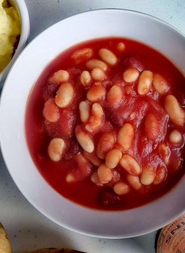 homemade baked beans in a bowl