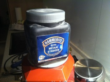 My trusted jar of paintstripper