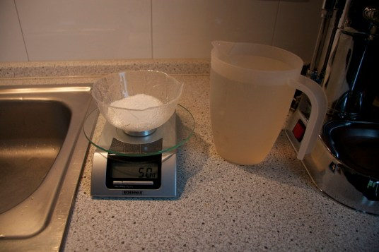 50 grams Citric Acid and 1 Liter warm Tapwater