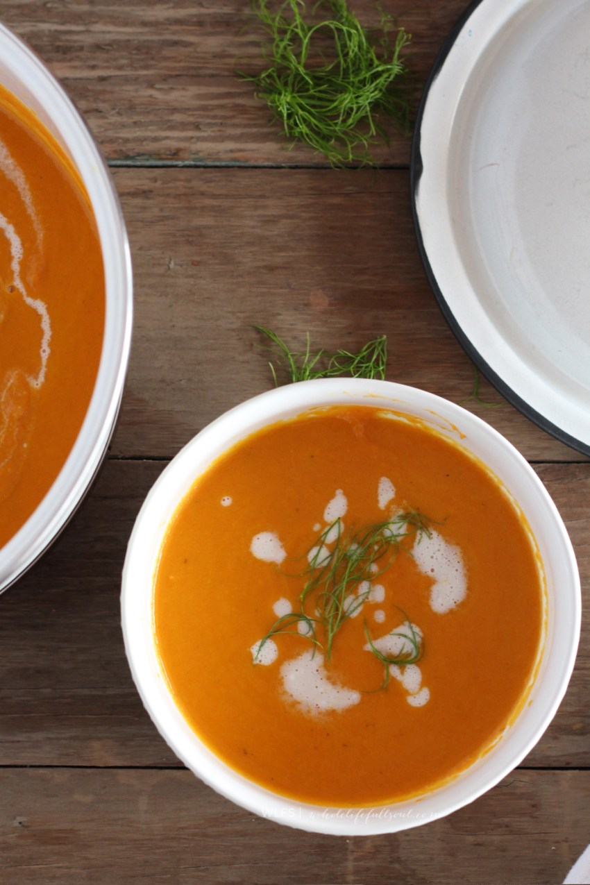 Roasted Carrot Soup with Horseradish Cream