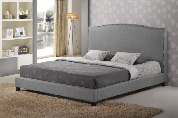 Baxton Studio Aisling Gray Fabric Platform Bed King Size