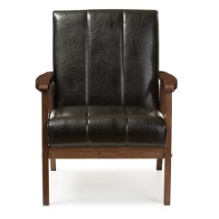 Mid Century Modern Leather Accent Chair Indoor Swinging Uk Wholesale Living Room Furniture Baxton Studio Nikko Scandinavian Style Black Faux Wooden Lounge