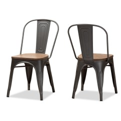 Industrial Bistro Chairs Swing Chair Pune Wholesale Dining Room Furniture Baxton Studio Henri Vintage Rustic Style Tolix Inspired Bamboo And Gun Metal Finished