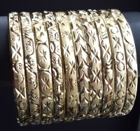 Gold Layered Diamond Cut Bangle Bracelets 6MM (1 Dozen)