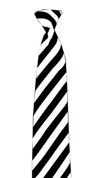 Satin Black/White Striped Neck Tie